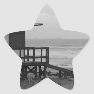 Black and White Lifeguard Stand Star Sticker