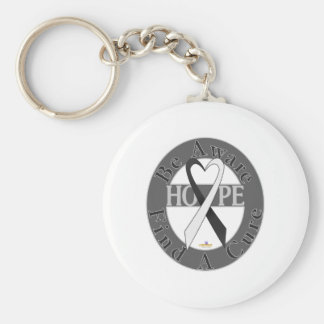 Black And White Light Be Aware Design Basic Round Button Keychain