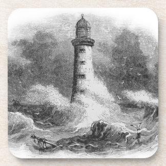 Black and White Lighthouse Etching Beverage Coaster
