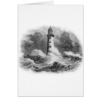 Black and White Lighthouse Etching Greeting Card