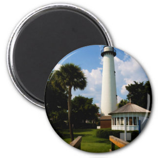 Black and White Lighthouse Jekyll Island Georgia 2 Inch Round Magnet