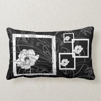 Black and White Lily Floral Lumbar Pillow