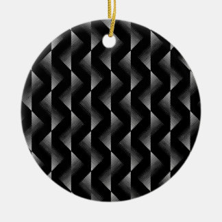 Black and White Line Art Ceramic Ornament
