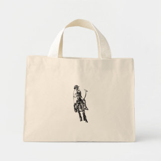 Black and White Line Drawing Polo Player Mini Tote Bag