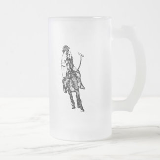 Black and White Line Drawing Polo Player Mugs