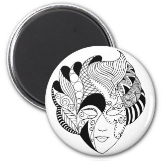 black and white lineart mask 2 inch round magnet