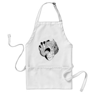 black and white lineart mask aprons