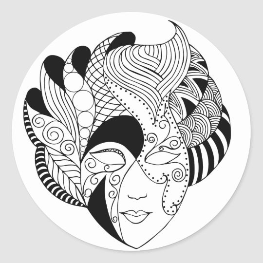 black and white lineart mask classic round sticker