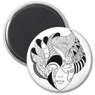 black and white lineart mask fridge magnet