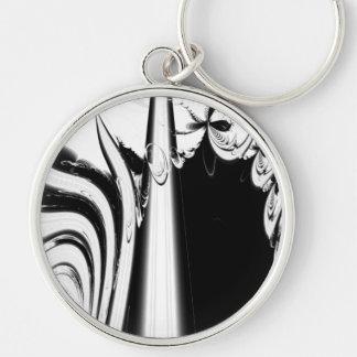 Black and White Lines and Swirls. Keychain