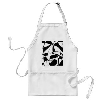 Black and White lines, block colour print pattern Adult Apron