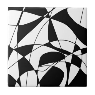 Black and White lines, block colour print pattern Tiles