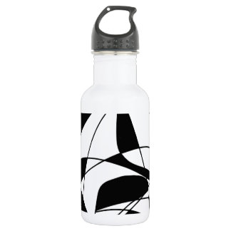 Black and White lines, block colour print pattern Water Bottle
