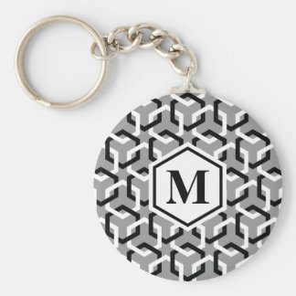Black and White Linked Hexes Keychain