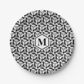 Black and White Linked Hexes Paper Plate 7 Inch Paper Plate