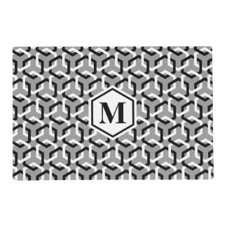 Black and White Linked Hexes Placemat