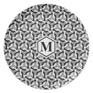 Black and White Linked Hexes Plate