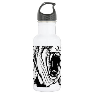 Black and White Lion 18oz Water Bottle
