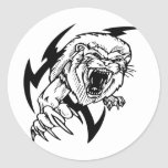 Black and White Lion Classic Round Sticker
