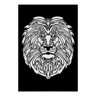 "Black and White Lion Graphic Poster, 13"" x 19"" Poster"