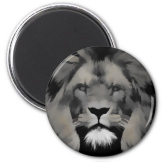 Black and white lion portrait 2 inch round magnet