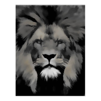 Black and white lion portrait postcard
