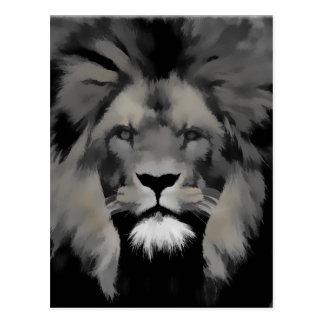 Black and white lion portrait post card