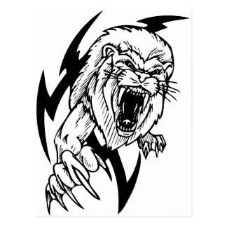 Black and White Lion Postcard