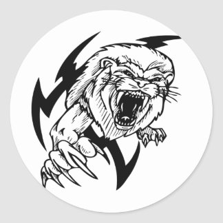 Black and White Lion Round Stickers