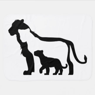 Black and White Lions Baby Blanket