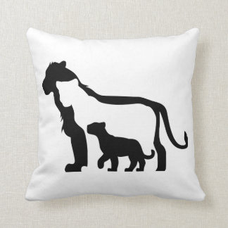 Black and White Lions Throw Pillow