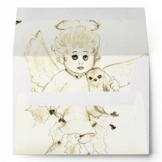 Black and White Little Angel envelope