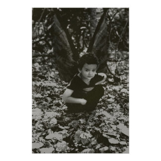 Black and White Little Boy Fairy Poster