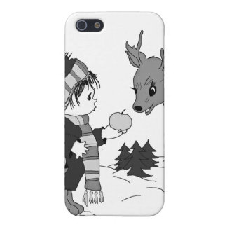 black and white little boy feeding reindeer case for iPhone SE/5/5s