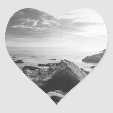 Beach Themed Black and White Little Corona Del Mar Beach Heart Sticker