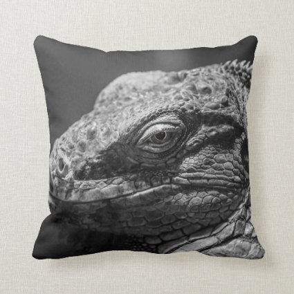 Black and White Lizard Throw Pillow