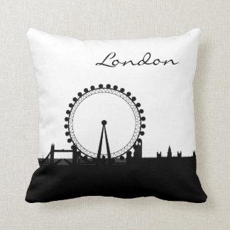 Black and White London Landmark Throw Pillow