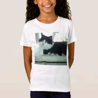 Black and White Long-haired Cat T-Shirt