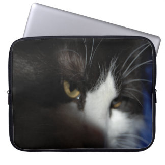 Black and White Longhaired Cat Laptop Sleeve