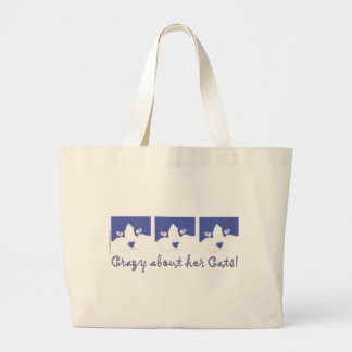 Black and White Longhaired Cat Large Tote Bag