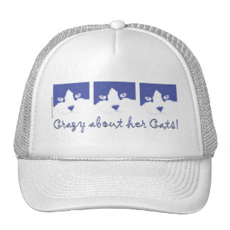 Black and White Longhaired Cat Trucker Hat