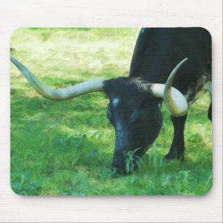 Black and White Longhorn Mouse Pad
