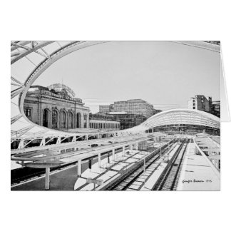 Black and White Look of Union Station, Denver, CO Card