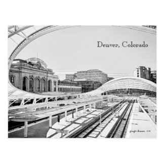 Black and White Look of Union Station, Denver, CO Postcard