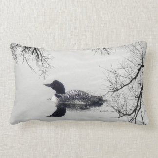 Black and white loon on a lake decor pillow