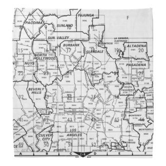 Black and White Los Angeles County Street Atlas Bandana