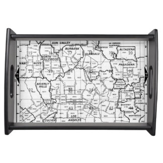 Black and White Los Angeles County Street Atlas Serving Tray