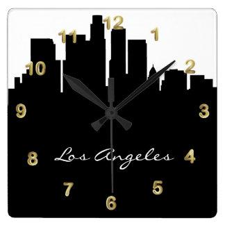 Black and White Los Angeles Skyline Square Wall Clocks