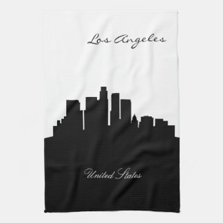 Black and White Los Angeles Skyline Kitchen Towels