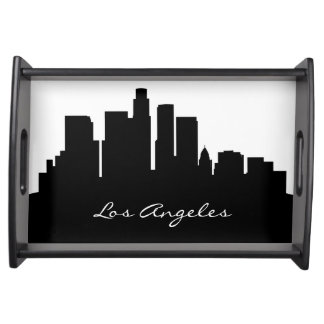Black and White Los Angeles Skyline Serving Tray
